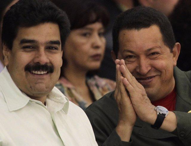 Hugo Chávez y Nicolás Maduro en 2010
