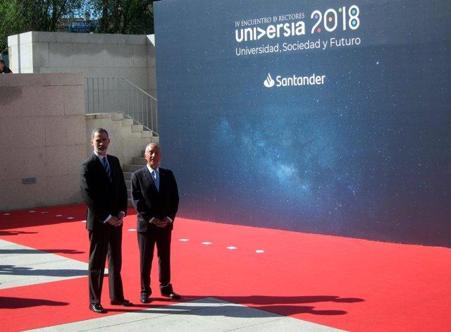El Rey Felipe VI y el presidente de la República de Portugal. 21-5-2018