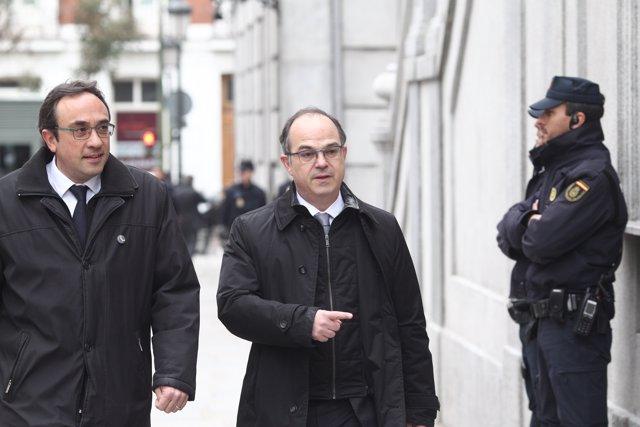Josep Rull i Jordi Turull arriben al Suprem per la vista del procés