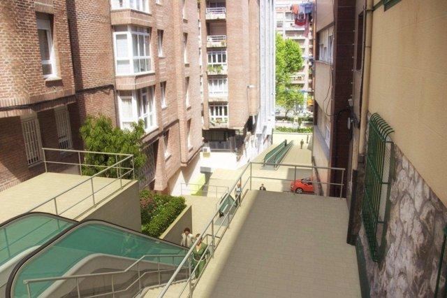 Escaleras y rampas de Alameda a calle Alta