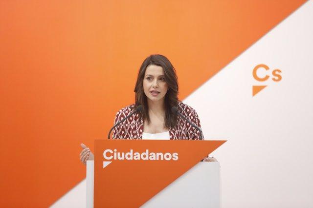 Inés Arrimadas ofrece una rueda de prensa tras la reunión del Comité Ejecutivo