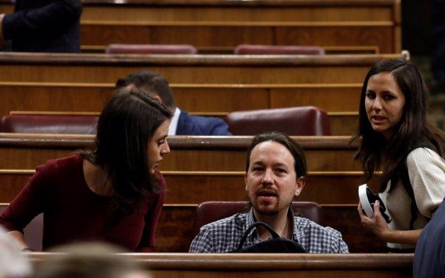 Irene Montero, Pablo Iglesias e Ione Belarra