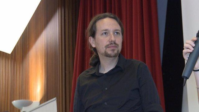 Pablo Iglesias en la Facultad de Geografía de la Universitat de València