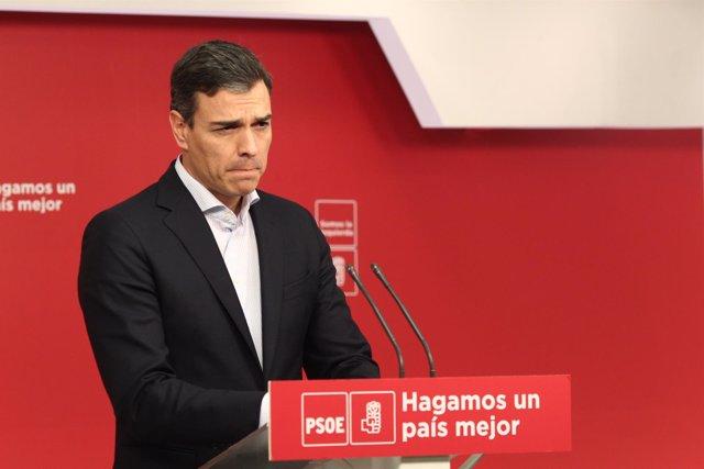 Rueda de prensa del líder del PSOE, Pedro Sánchez, en la sede del partido