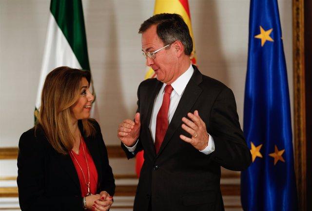 Susana Díaz con el vicepresidente y consejero delegado de Cepsa, Pedro Miró
