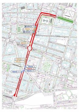 Plano del recorrido del Desfile del sábado