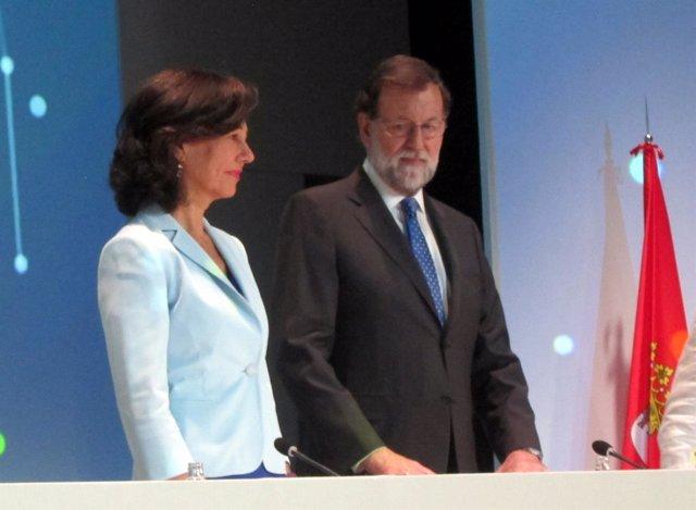 Ana Botín y Mariano Rajoy en la cita de Universia en Salaman