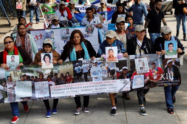Marcha de madres de migrantes centroamericanos desaparecidos en México