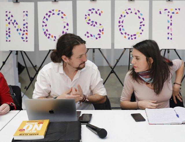 Montero e Iglesias durante la reunión Rumbo 2020: La revolución ya es feminista