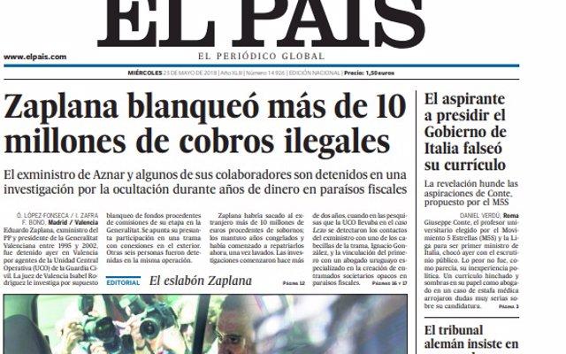 Las portadas de los periódicos de hoy, miércoles 23 de mayo de 2018