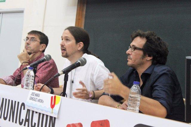 Pablo Iglesias, José María González Kichi y Juan Carlos Monedero