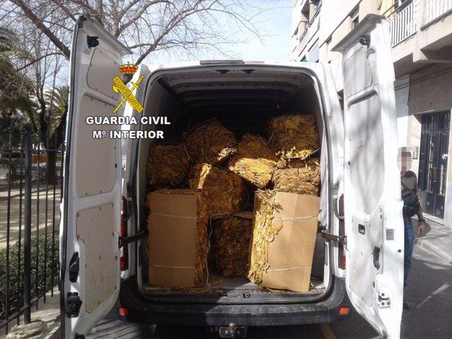 Tabaco de contrabando decomisado por la Guardia Civil