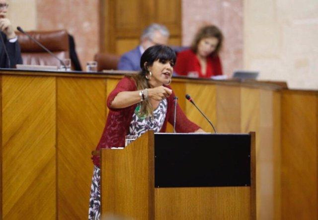 Teresa Rodríguez defendiendo la iniciativa en la tribuna