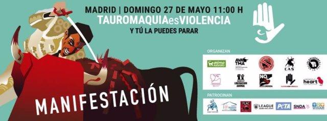 Cartel manifestación 27 mayo 2018 en Madrid contra la tauromaquia
