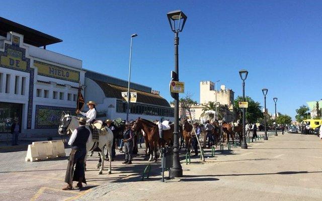 Unos 2.600 romeros, 288 caballos, 300 vehículos y 35 carretas cruzan Bajo de Guía en su regreso de El Rocío
