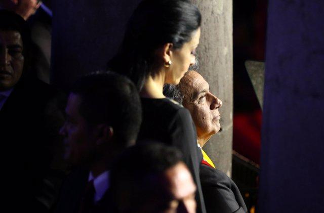 Ecuador's  President Lenin Moreno next to his wife Rocio Gonzalez attends an eve