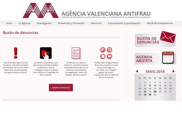 Buzón de denuncias en la web de la Agencia Antifraude
