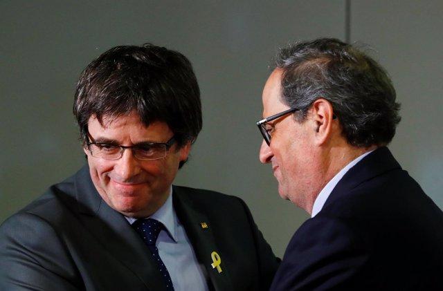 Rueda de prensa de Carles Puigdemont y Quim Torra