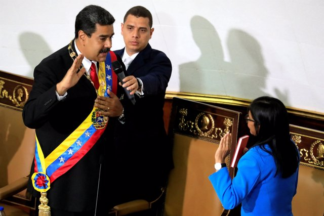 Venezuela's President Nicolas Maduro takes the oath as re-elected President by t