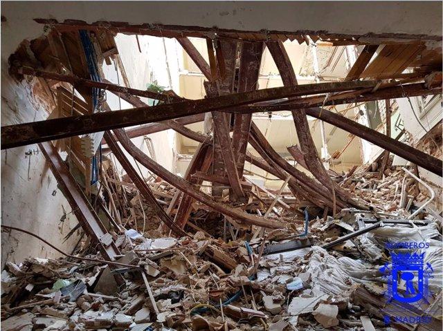 Edificio en obras derrumbado en Madrid