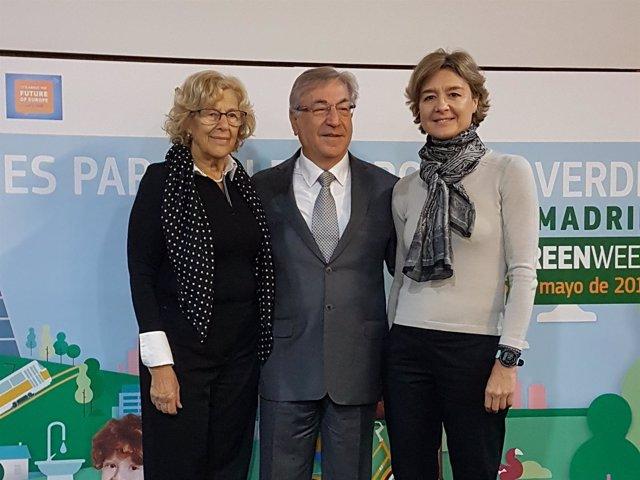 Carmena, comisario europeo Medio Ambiente y García Tejerina