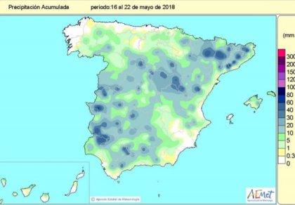 Las lluvias desde el 1 de octubre al 22 de mayo superan en un 8% el valor normal y continúa el déficit en el Levante