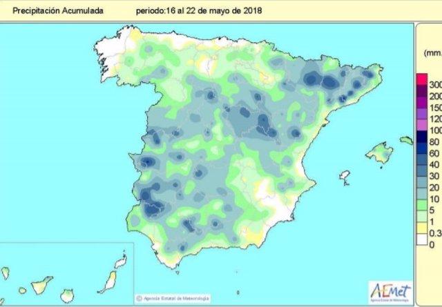 Las lluvias desde el 1 de octubre al 22 de mayo superan en un 8% el valor normal