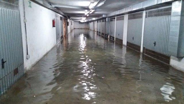 Garajes de Tarazona inundados.