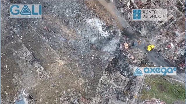 Imágenes de Tui (Pontevedra) tras la explosión de un almacen pirotécnico