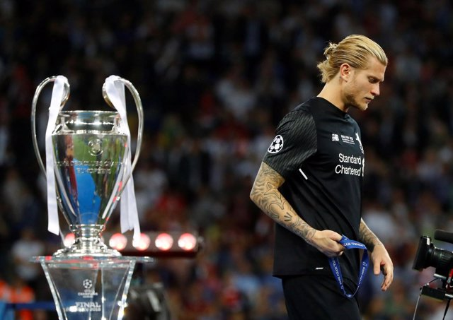 Karius, del Liverpool, tras la final de la Champions