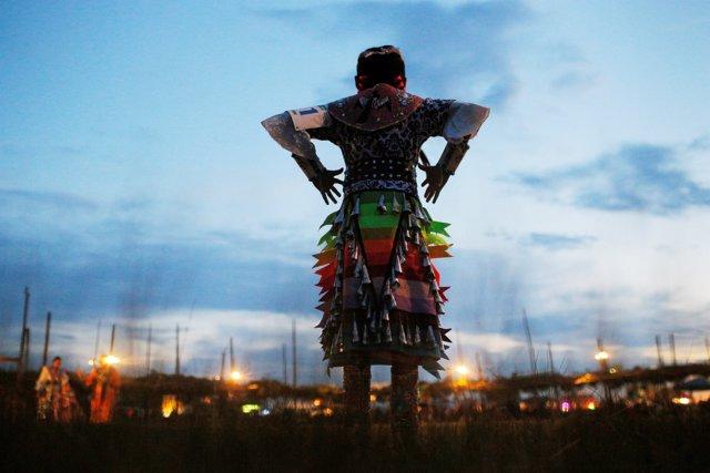 Nine-year-old Anhinga Benally, who is a Navajo junior girls' jingle competitor,