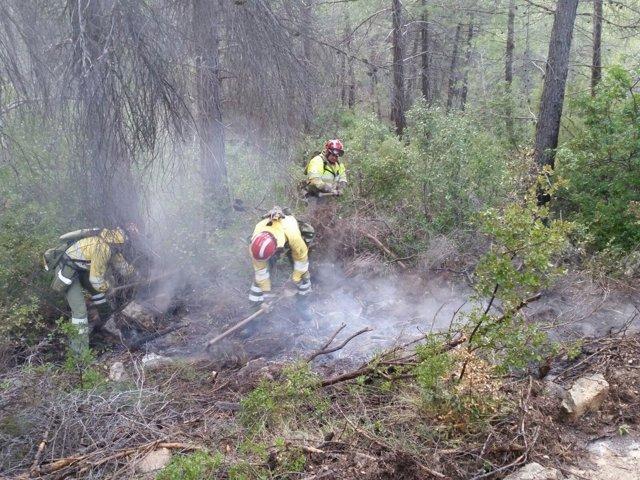 Imagen de las tareas de extinción del incendio de los miembros del Plan Infomur