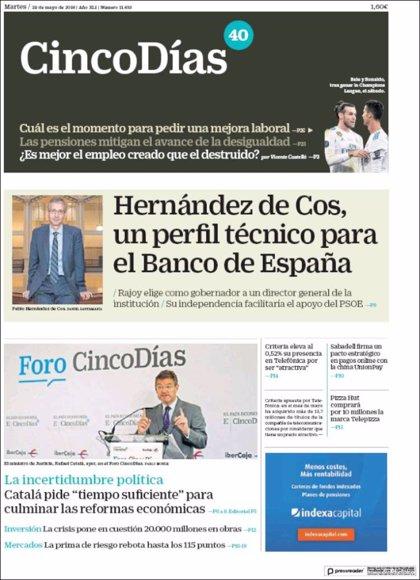 Las portadas de los periódicos económicos de hoy, martes 29 de mayo