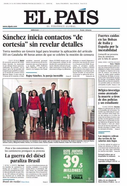 Las portadas de los periódicos de hoy, miércoles 30 de mayo de 2018