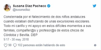 Susana Díaz expresa su consternación por la muerte de los dos niños andaluces durante excursiones escolares