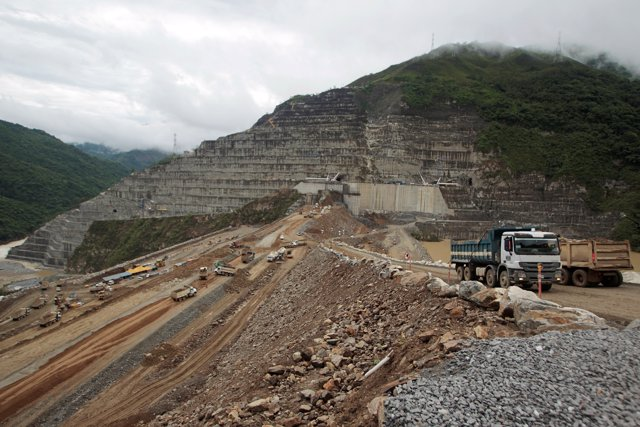View of the construction at Hidroituango hydroelectric plant in Ituango, Colombi