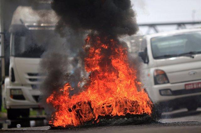Movilizaciones de camioneros en Brasil