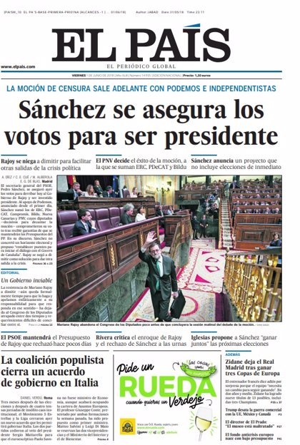 Las portadas de los periódicos de hoy, viernes 1 de junio de 2018