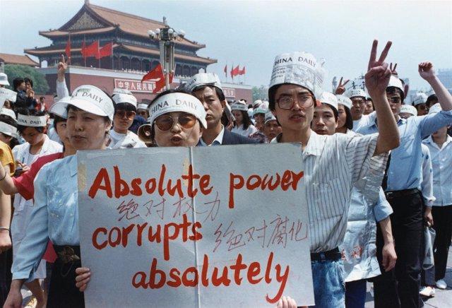 Manifestación en la plaza de Tiananmen en 1989