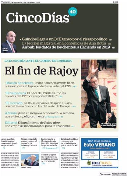 Las portadas de los periódicos económicos de hoy, viernes 1 de junio