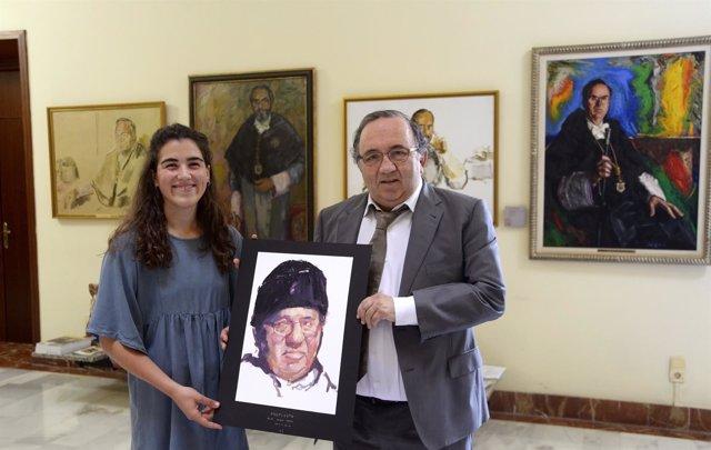 El exrector Orihuela con María Garres, la artista que hará su retrato