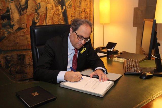 El pte.Quim Torra firma el segundo decreto de nombramiento de consellers