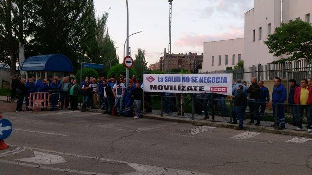 Concentración de trabajadores de mantenimiento de Metro de Madrid