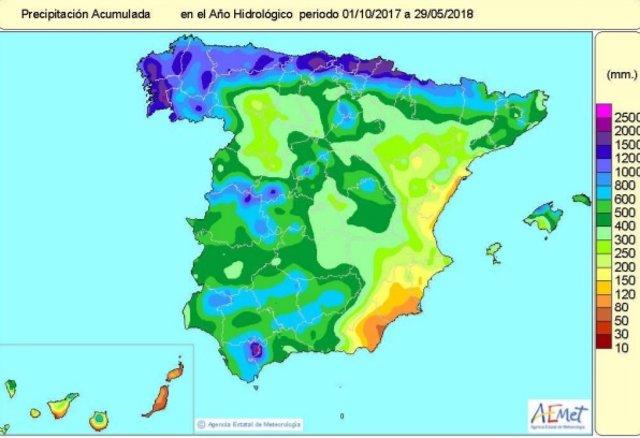 Las lluvias desde el 1 de octubre al 29 de mayo superan en un 12% el valor norma