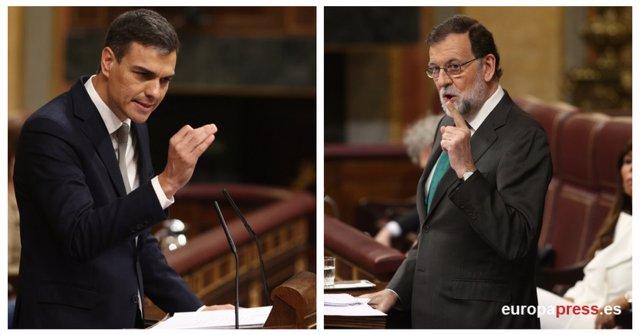 Montaje de Rajoy y Sánchez durante el debate de la moción de censura