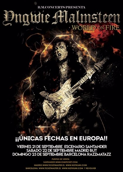 Yngwie Malmsteen actuará en septiembre en Santander, Madrid y Barcelona