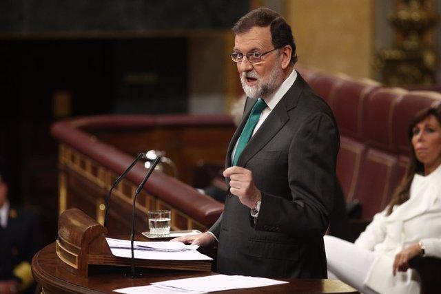 Rajoy interviene durante el debate de la moción