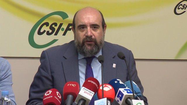 El presidente de CSIF, Miguel Borra, en rueda de prensa