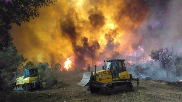 Maquinaria del Infoex trabaja en un incendio en Portugal el pasado año