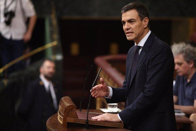 Pedro Sánchez interviene en el debate de la moción de censura